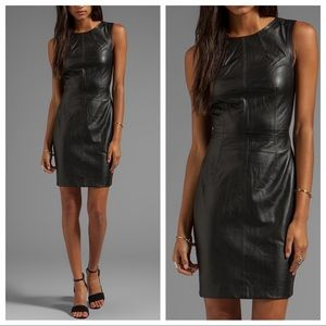 Trina Turk Carnegie black leather sheath dress